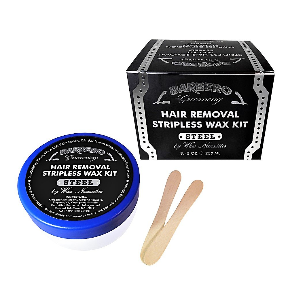 Barbero Microwavable Hair Removal Stripless Wax Kit Steel 8.45 Ounces by Wax Necessities Waxness