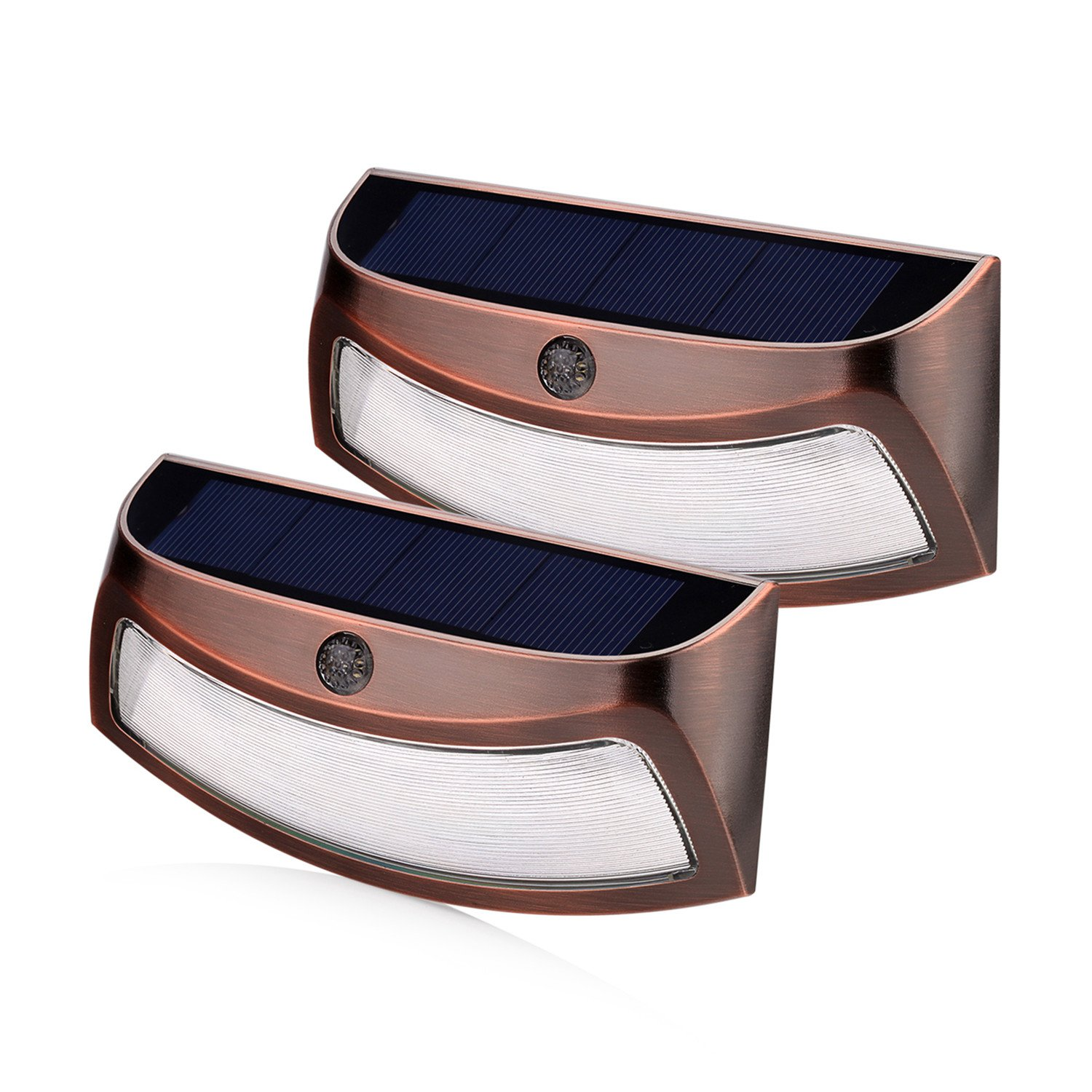 Solar Lights Outdoor, xtf2015 Copper Outdoor Step Lights, Wireless Waterproof LED Solar Lights for Stair, Patio, Yard, Fence, Walkways, Outside Wall - Auto On/Off(2 Pack, Warm White)