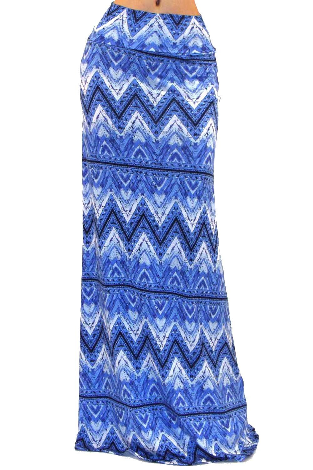 Vivicastle Women's Colorful Tie Dye Acid Washed High Waist Foldover Maxi Skirt (Small, as16, Blue)