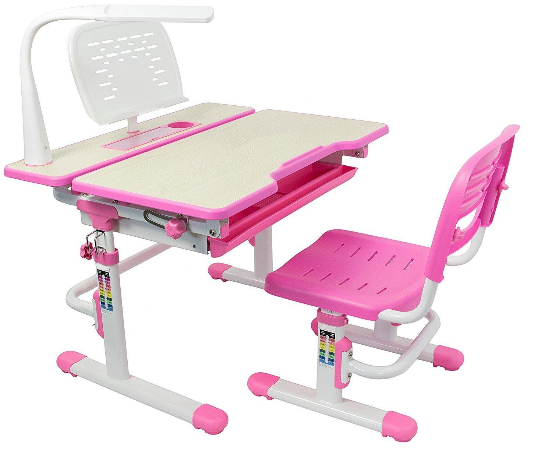 80 cm, la hauteur réglable enfants Table d'étude et une chaise fixée, pour les enfants, les enfants de l'écol, Tilt-capable de bureau, tiroir coulissant, porte-gobelet, une lampe à LED avec 3 paramètres, porte-livre libre est inclus(fonction de l'âge de 3