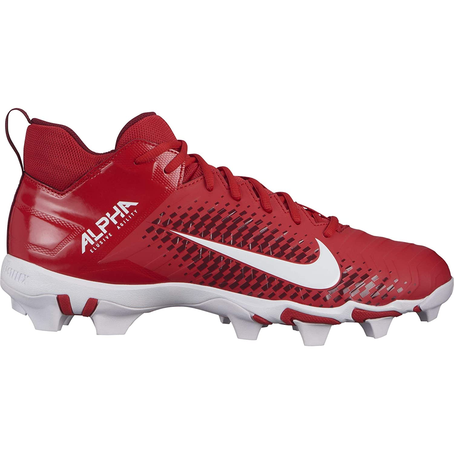 Nike Men's Alpha Menace 2 Shark Football Cleat University 赤/白い Size 7.5 M US