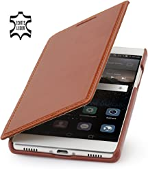 StilGut Book Type Case Senza Clip, Custodia in Vera Pelle a Libro per Huawei P8, Cognac