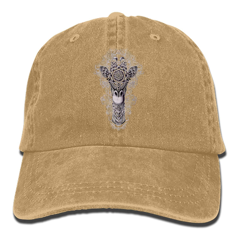 SHUANGRENDE Classic Floral Giraffe Adjustable Cowboy Cap Denim Hat Low Profile Gift for Men Women