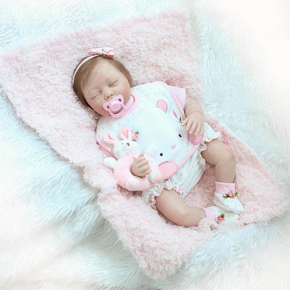 ZIYIUI Lifelike 55 cm 22 inch Reborn Baby Doll Girl Handmade Soft Silicone Vinyl Realistic Newborn Baby Girls Dolls Toy Xmas Gift