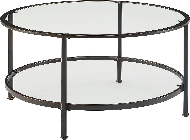 Crosley Furniture Aimee Round Glass Coffee Table, Oil Rubbed Bronze