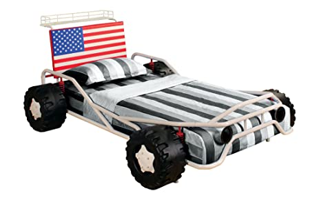 Furniture Of America Youth Race Car Design Metal Bed With American Flag  Headboard, Twin,