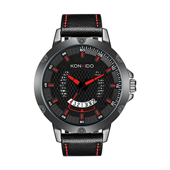 KONXIDO Mens Watch, Analog Army Military Sports Quartz Mens Wrist Watch, Dual Time,