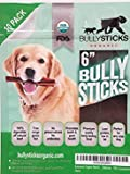 """Bullysticks Organic 6"""" Bully Sticks For Dogs - Big Bag 10 Pack Low Odor Dog Treats - All Natural Premium Beef - USDA/FDA Approved Hand Inspected Healthy Treat - 100% Happiness Guarantee! (6 Inch)"""