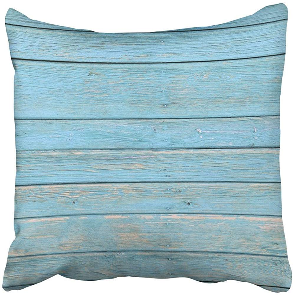 Throw Pillow Covers Decorative Cases Plank The Old Blue Wood with Natural Patterns Wooden Board Timber Abstract Material 18x18 Inch Cover Cushion Pillowcase Square Case Print