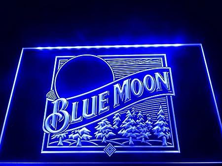 Blue Moon - Cartel de neón con iluminación LED para Cerveza ...