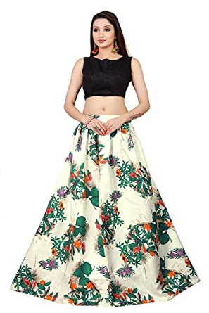 2bdb39f073 D FASHION GALLERY'S Women's Bangalori Satin Long Skirt Gown and Top (Green  and White, Free Size): Amazon.in: Clothing & Accessories