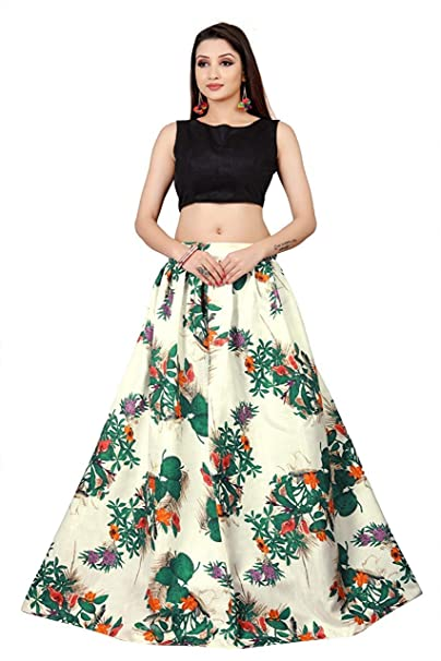 2a6777d8e4 D FASHION GALLERY S Women s Bangalori Satin Long Skirt Gown and Top (Green  and White