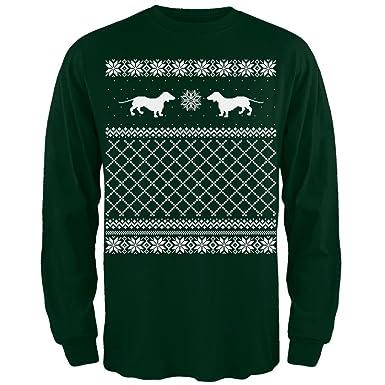 Amazon.com: Dachshund Ugly Christmas Sweater Green Adult Long ...