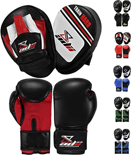 New Boxing Gloves and Focus Pads Set Hook /& Jabs Mitts Punch Bag Gym Training