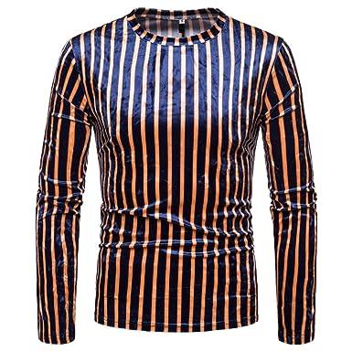 552ccb6e9e2 Amazon.com  Lljin Men Spring Winter Casual Print Long Sleeve O Neck Slim T- Shirt Top Blouse  Clothing