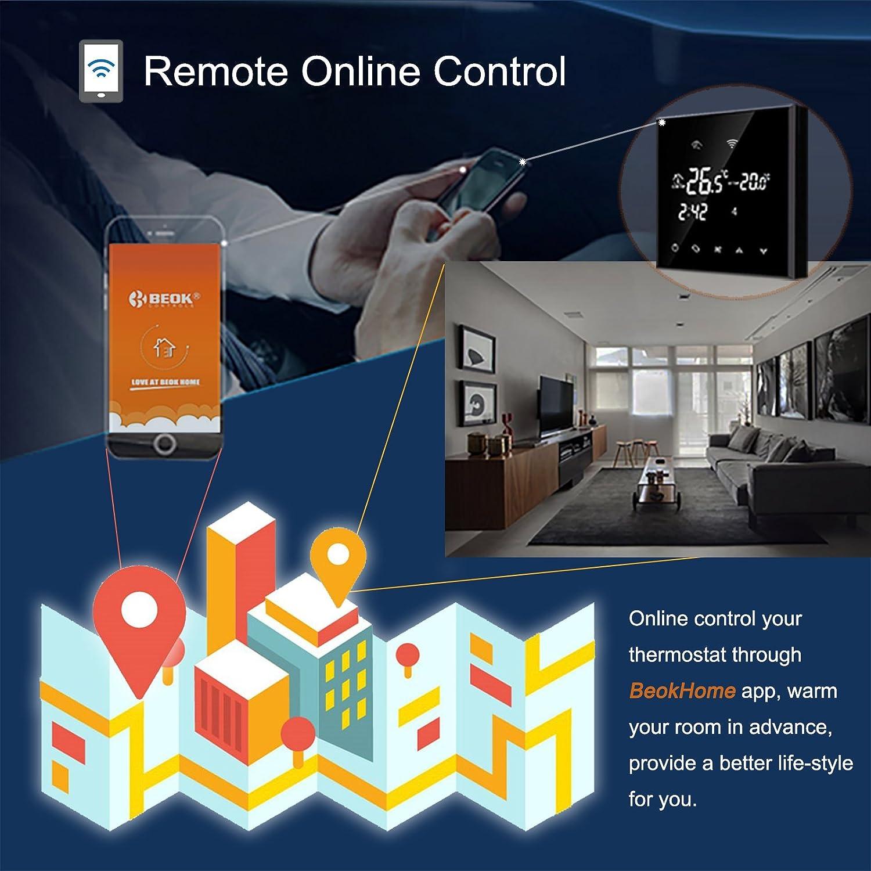 Beok Wifi Raumthermostat Mit Lcd Touchscreen Und Bodensensor 230 V Hgf And Remote Thermostat 16 A Schwarz 23000v Baumarkt