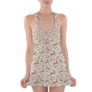 5d8eb575484 Queen of Cases Colorful Geometric Reindeer Halter Swim Dress Swimsuit - XS
