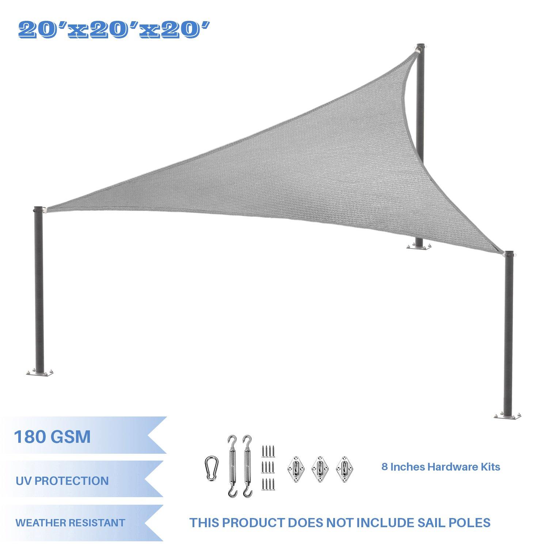 E&K Sunrise 20' x 20' x 20' Light Grey Equilateral Triangle Sun Shade Sail Stainless Steel Hardware Kit Outdoor Shade Cloth UV Block Fabric,Curve Edge-Customized