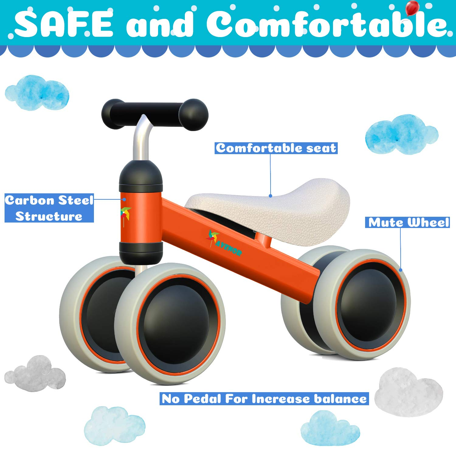 Avenor Baby Balance Bike - Baby Bicycle for 6-24 Months, Sturdy Balance Bike for 1 Year Old, Perfect as First Bike or Birthday Gift, Safe Riding Toys for 1 Year Old Boy Girl Ideal Baby Bike (Orange) by Avenor (Image #3)