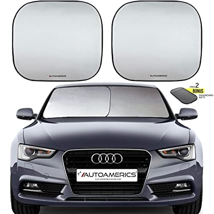 Autoamerics Windshield Sun Shade 2-Piece Foldable Car Front Window Sunshade  for Most Sedans SUV 229efa3ae9a