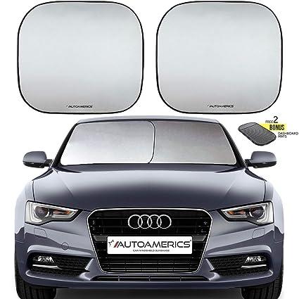 Autoamerics Windshield Sun Shade 2-Piece Foldable Car Front Window Sunshade  for Most Sedans SUV a952f315ecc