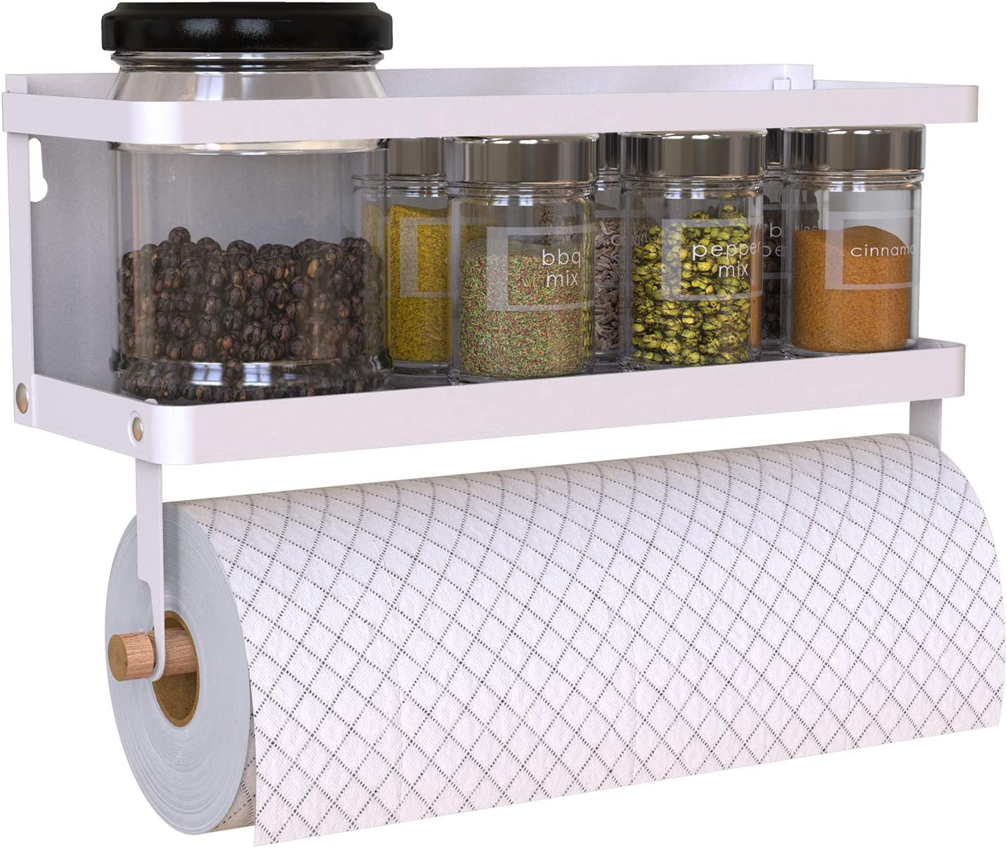 Magnetic Spice Rack Organizer Single Tier Refrigerator Spice Storage Shelf, Easy to Install The Side of The Refrigerator Can Hold spices, Jar of Olive Oil (White, With hook)