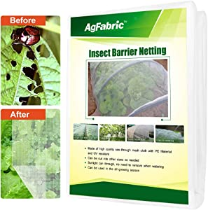 Agfabric 6.5'x200' Bug Net Insect Bird Netting, Garden Netting Protect Plants Fruits Flowers Against Bugs Birds & Squirrels, White