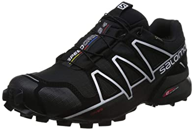 88000986dd Salomon Men's Speedcross 4 GTX Running Trail Shoes Black/Black/Silver  Metallic-X