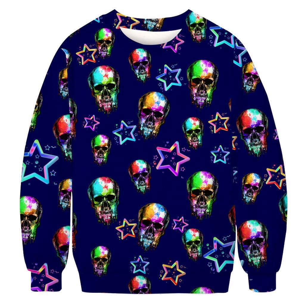 charmsamx Mens Crewneck Sweatshirt Halloween Pumpkin Printed Skull Sweatshirt Pullover Sweatshirts Navy, XXXL by charmsamx