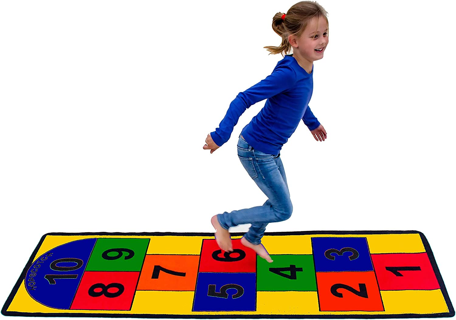 28/×55 in,Green Kids Hopscotch Rug Educational Learning Carpet Kids Floor Play Mat Kids Indoor Outdoor Area Rug