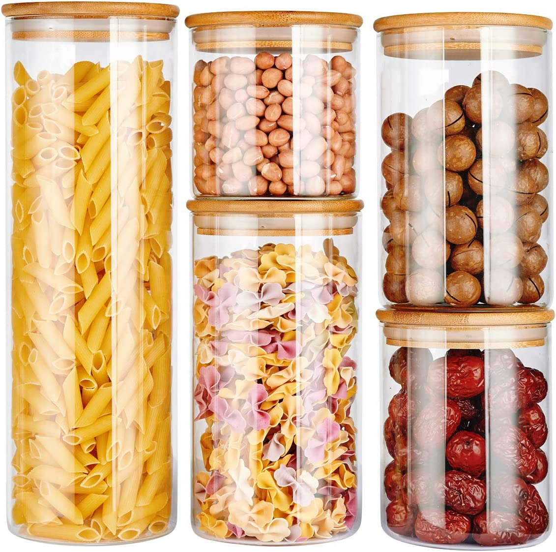 copdrel Stackable Kitchen Canisters Set, Airtight Glass Canister Set of 5 - Clear Glass Bulk Food Storage Canister for Coffee, Flour, Sugar, Candy, Cookie, Spice