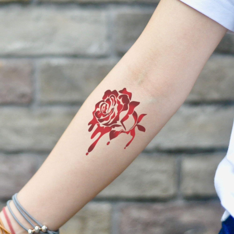 Tatuaje Temporal de Sangrado Rose Gota De Sangre Sangrienta (2 ...