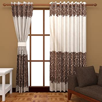 Charming Buy Super India Modern Silk U0026 Velvet Door Curtains (Set Of 2)  7 Feet X 4  Feet In Cream Online At Low Prices In India   Amazon.in