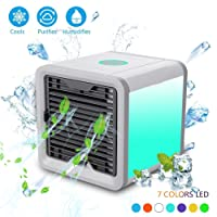 PBELE Personal Space Air Cooler, Portable Mini 3-in-1 Air Cooler, Humidifier & Purifier, Desktop Air Conditioner Fan with 3 Speeds and 7 Colors LED Light