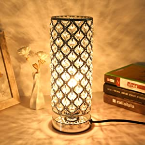 Crystal Touch Control Table Desk Lamp, Acaxin Dimmable Bedside Lamp with Bulbs, Modern Nightstand Lamp with Sliver Crystal Shade, Decorative Crystal Accent Lamp for Bedroom/Living Room
