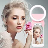 Rechargeable Selfie Light With 3 Modes, Including Video Light,Self-timer Light and Party Light.Yarrashop Dimmable Clip Selfie Ring Lights With 48 LED For iPhone ,Samsung,Huawei,Xiaomi,VIVO,OPPO,Tablets Laptop And So ON. (Pink)