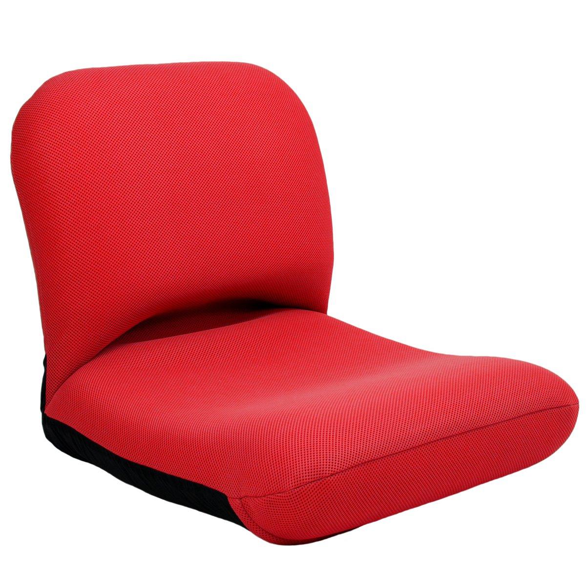 産学連携 背中を支える美姿勢座椅子 W01 レッド 腰痛 日本製 リクライニング 姿勢 人気 コンパクト B079L2LK56 ダブルラッセルレッド ダブルラッセルレッド