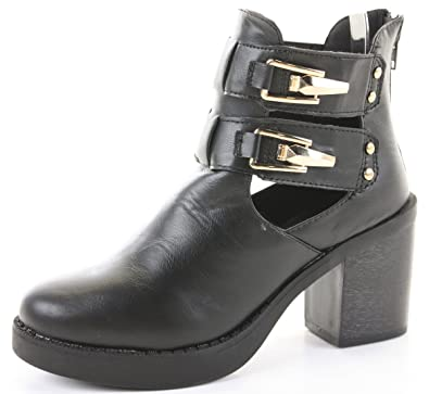 9bc36117b71a2 Womens Heeled Booties High Heels Block Shoes Platform Chelsea Cut Out Ankle  Boots Size 3 -