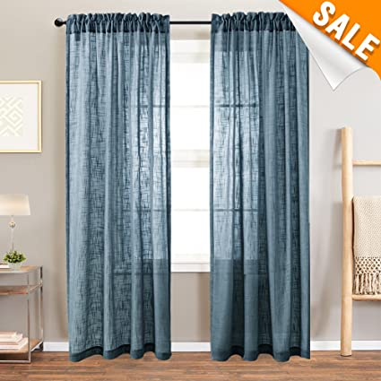Amazon.com: Lazzzy Navy Blue Linen Textured Sheer Curtains for ...