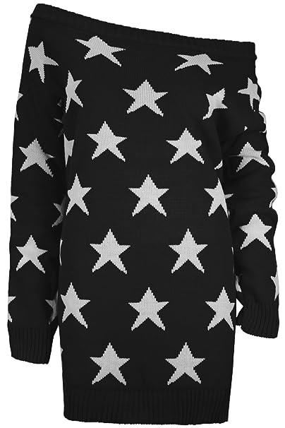 Damen Langarm Schulterfreier Pullover Strickpullover Kleid mit Sternen  Übergröße Top - Schwarz, S/M