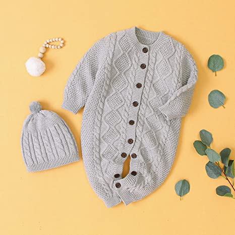puseky Infant Baby Boy Girl Knitted Sweater Romper Jumpsuit Bodysuit Playsuit with Hat Outfits