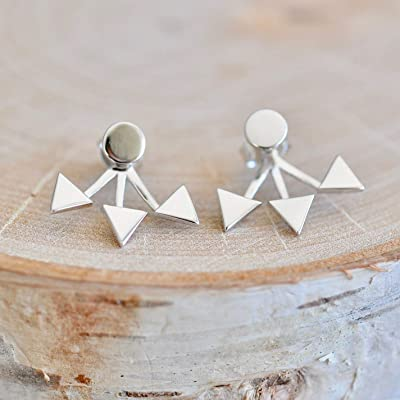 Edgy Triangle Ear Jackets Sterling Silver - Jamber Jewels