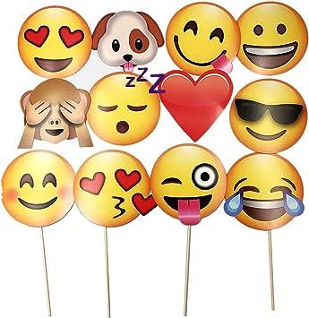 JZK 12 x Emoji Photo Booth Papel de Accesorios Fiesta apoyos ...