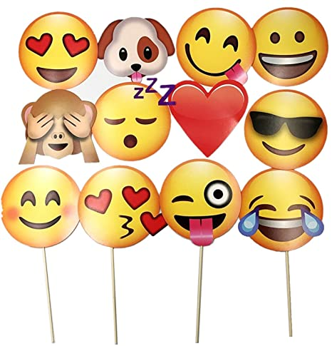 JZK® 12 Emoji foto booth props selfie props carta photo booth emoticon  photobooth per bambini adulti decorazione festa matrimonio addio al  nubilato