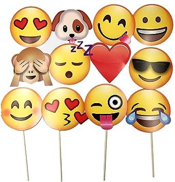 Conosciuto JZK® 12 Emoji foto booth props selfie props carta photo booth  TT01