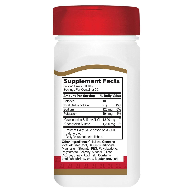 21st Century Cuidado Salud, Glucosamina 750 mg, Condroitina 600 mg, Triple Fuerza, 60 (Fácil De Tragar) Pastillas: Amazon.es: Salud y cuidado personal