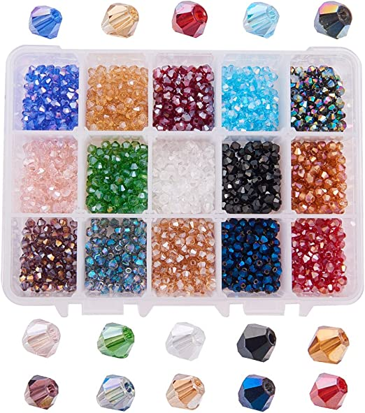 12 Colors 4mm Round Faceted Crystal Glass Beads with Box for Jewelry Making