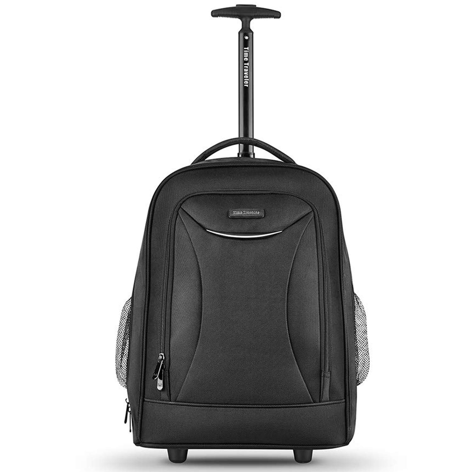 Black Rolling Backpack, Wheeled Laptop Backpack, Carry-on Luggage Suitcase