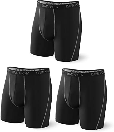 DAVID ARCHY Mens Underwear Premium Cotton Boxer Briefs Ultra Soft Pouch Undergarment with Fly in 3 or 4 Pack