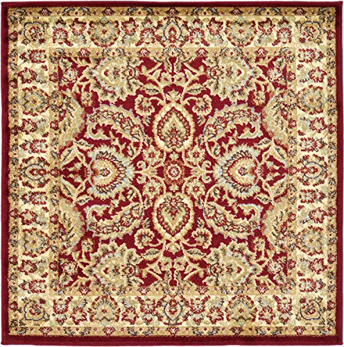 Unique Loom Voyage Collection Traditional Oriental Classic Red Square Rug (4' x ()